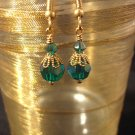 Emerald Green 8 mm Round Swarovski Crystal Earrings