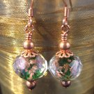 Pink Flower Glass Bead Earrings Copper