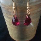Ruby 16x11mm Faceted Baroque Swarovski Crystal Earring
