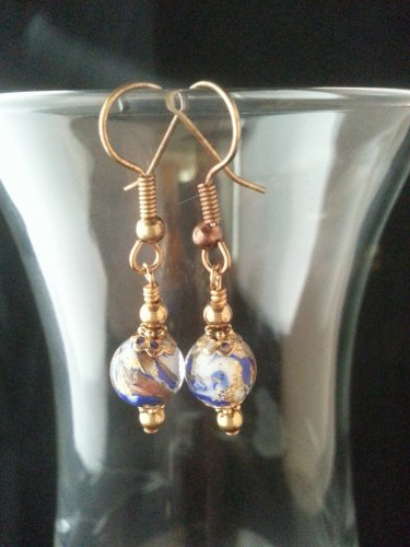 8 mm Round Blue and Gold Murano Glass Bead Earring