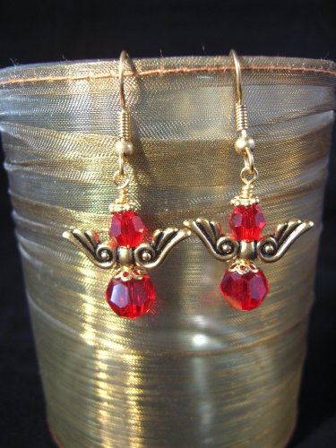 8mm Red Swarovski Crystal Gold Wing Earring