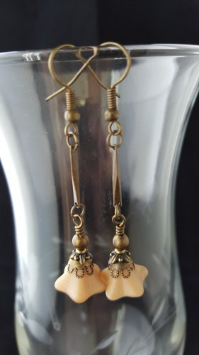 Antique Brass Nude Long Dangle Earrings
