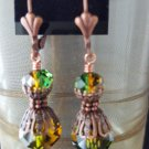 10mm Round Swarovski Crystal Fern Green and Topaz Earrings Copper