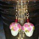 Lampwork Cupcake Earrings Gold Surgical Steel