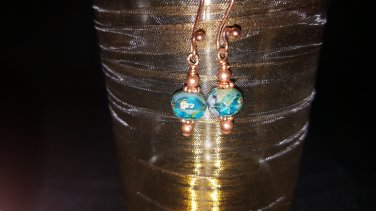 6mm Aqua Picasso Bead Earring in Copper