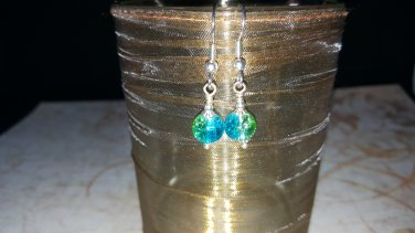 6mm Round Aqua and Green Lucite Earrings