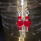 8mm Round Red Swarovski Crystal Earring