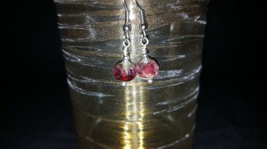 6mm Raspberry Picasso Bead Earring