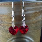 Swarovski Crystal Red Heart Earrings