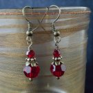 8mm Round Dark Siam Red Swarovski Crystal Earring