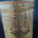 Antique Brass Filigree Drop Earrings