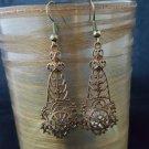 Antique Brass Filigree Drop Earrings