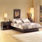Back Bay Dark Chocolate Wood Platform Bed 4 Piece Queen Bedroom Set