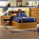Amesbury Kids Twin Wood Captain's Bed 3 Piece Bedroom Set in Country Pine