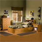 Brinley Kids Twin Wood Captain's Bed 4 Piece Bedroom Set in Florence Maple
