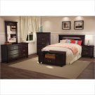 Dover Queen Panel Headboard 3 Piece Bedroom Set in Dark Mahogany Finish