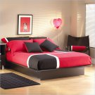 Cosmos Black Wood Platform Bed 3 Piece Queen Bedroom Set