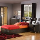 Cosmos Kids Twin Onyx Wood Bookcase Bed 4 Piece Bedroom Set