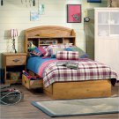 Prairie Kids Twin Wood Bookcase Bed 3 Piece Bedroom Set in Country Pine