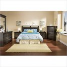 Versa Queen Wood Panel Headboard 5 Piece Bedroom Set in Black Ebony