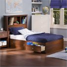 Mika Classic Cherry Kids Twin Wood Bookcase Bed 4 Piece Bedroom Set