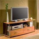 City Life 2 Drawer TV Stand in Charcoal and Honeydew Finish