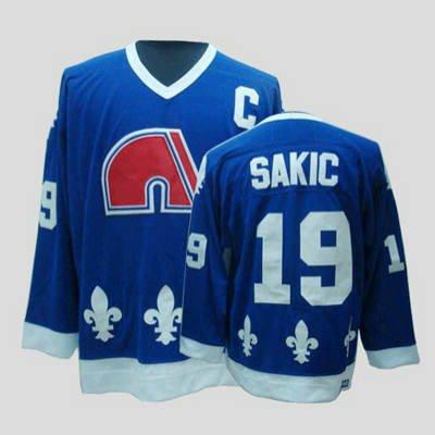 Vintage NHL Quebec Nordiques #19 JOE SAKIC ice Hockey Jerseys dark blue