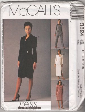 McCall's 3824 Dress Alternatives Double-Breasted Jacket Size BB 8 10 12 14 Uncut Sewing Pattern