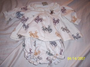 Western Go Baby Dress with Bloomers 12 Months  Free Shipping