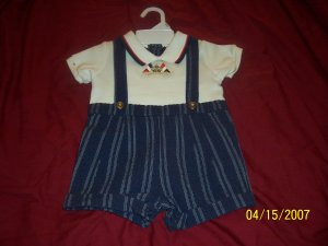 New Nannette Nautical Romper Boys 3/6 Months   Free Shipping