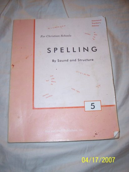 Rod & Staff Spelling 5 Teacher's Edition  Free Shipping