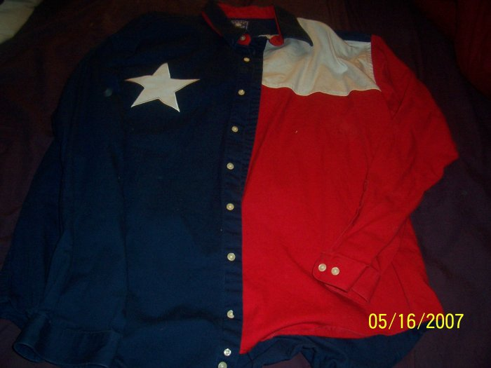 Texas Flag Western Shirt Mens X Large  FREE SHIPPING