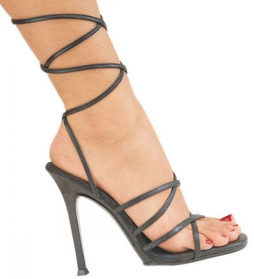 Gala- Womens Strappy Heeled Shoes with Leather Wrap Around Design