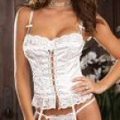 3 Piece Lace Trim Satin Bustier Set