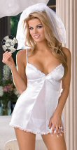 Satin/Sheer Bridal Babydoll w/Matching Thong, Veil and Game