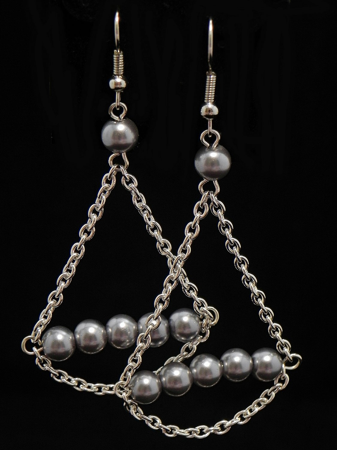 Dangling Pearl and Chain Earrings (Item#: 00303)