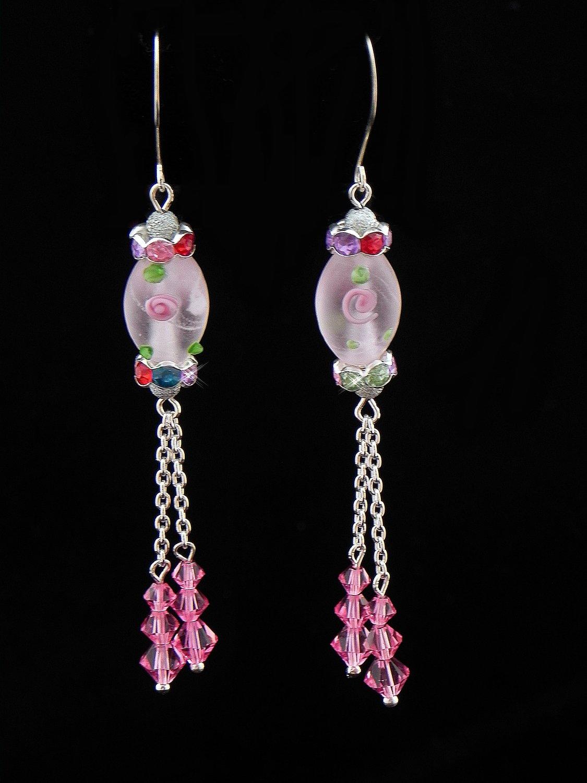 Pink Swarovski Crystal Earrings (Item:00342)