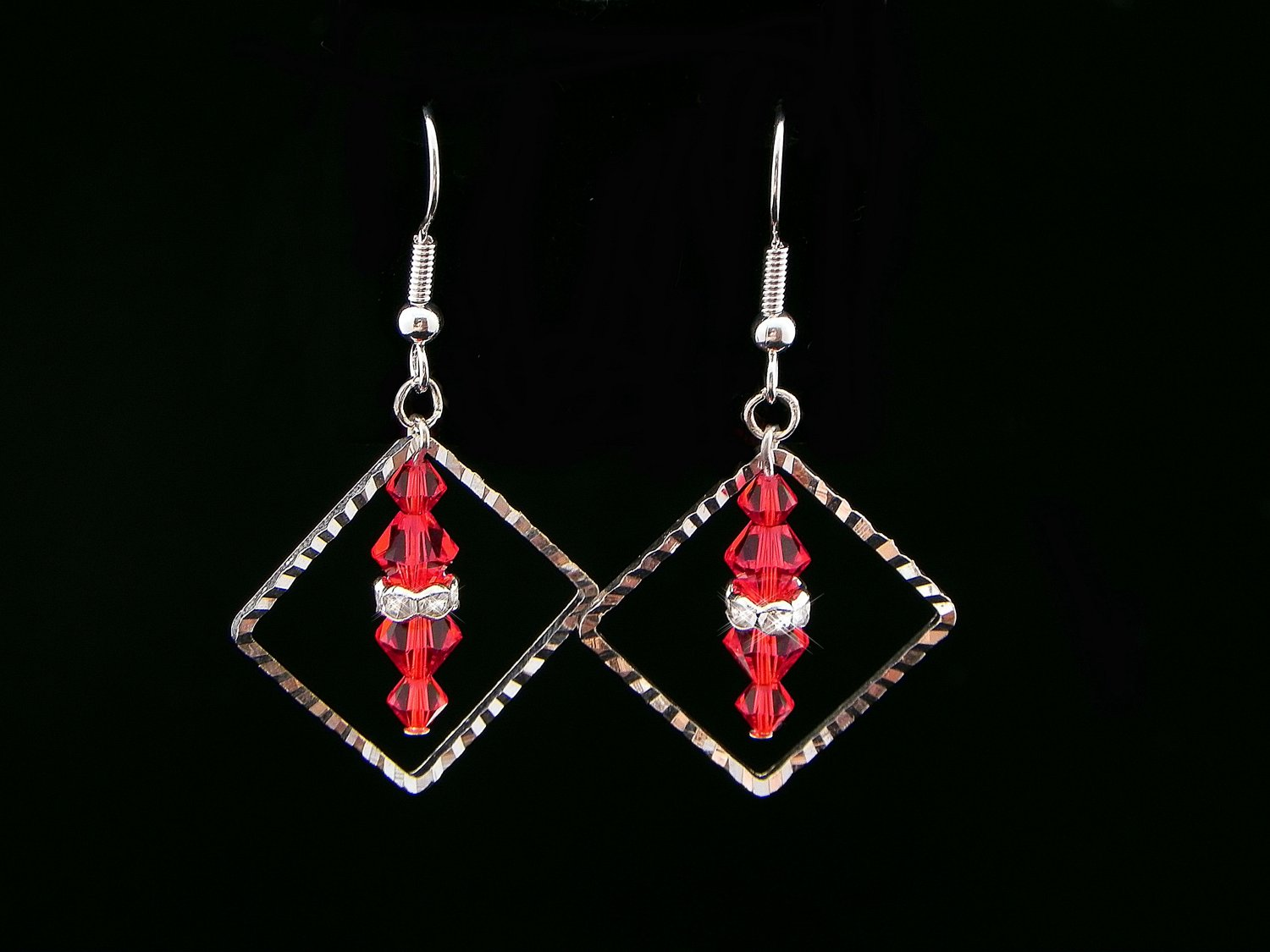 Handmade Red Swarovski Crystal Earrings (Item:00338)