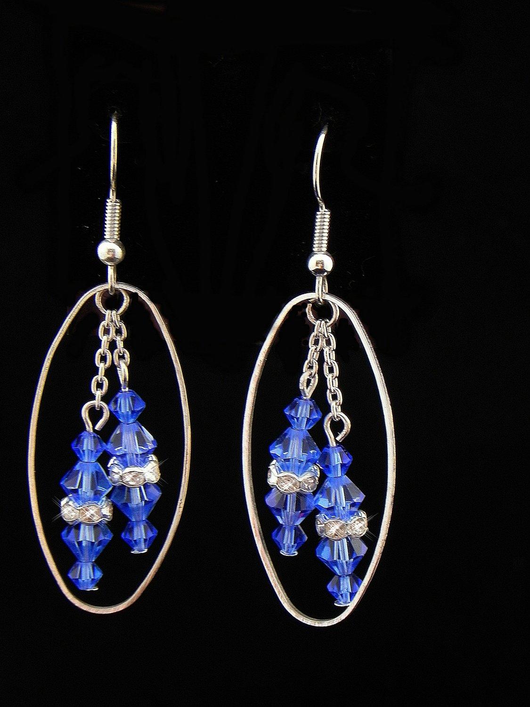 Handmade Blue Swarovski Crystal Earrings (Item:00337)