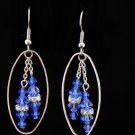 Handmade Blue Swarovski Crystal Earrings (Item:00337)
