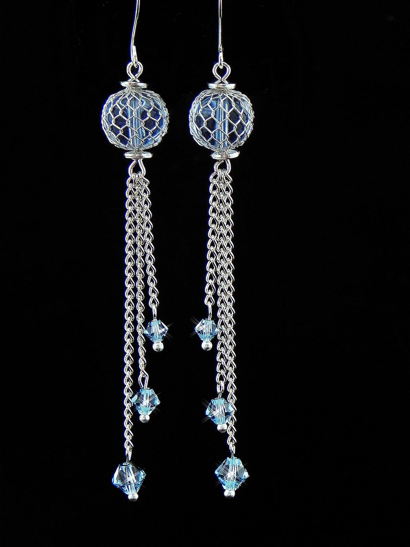 Handmade Blue Swarovski Crystal Earrings (Item:00309)