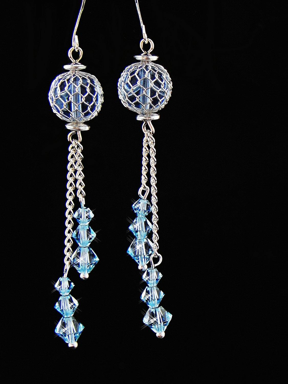 Baby Blue Swarovski Crystals Earrings (00306)