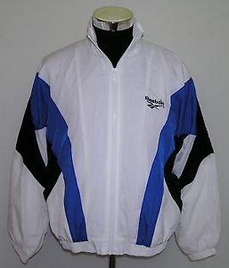 Reebok Men's Vintage White Blue Black Full Zip Track Training Jacket Size Large