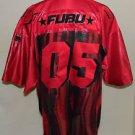 FUBU Brand Vintage Men's Hip Hop 90's Shiney Red Black Football Jersey Size XXL