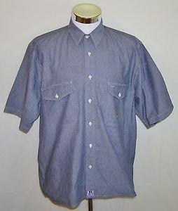 Nautica J-Class Sailing Short Sleeve Denim Style 2 Pocket Button Up Shirt Size L