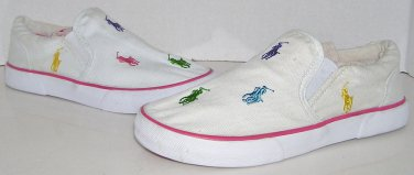 Polo Ralph Lauren Kids Spinnaker II Repeat Pony Canvas Slip On Shoes Size 2 US