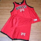 Chicago Bulls NBA Basketball Vintage 80/90s Logo 7 Red Jersey Short Set Size XXL