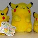 """Pokemon Plush Pikachu 2000 2001 Stuffed Doll Toy 10"""" 8"""" 6"""" Lot of 3 Plush Dolls"""