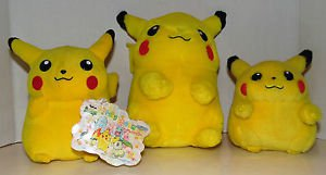 "Pokemon Plush Pikachu 2000 2001 Stuffed Doll Toy 10"" 8"" 6"" Lot of 3 Plush Dolls"
