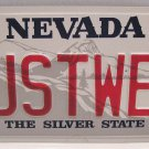 "Nevada Collector Vanity Personalized License Plate Car Tag Married ""JUSTWED"""